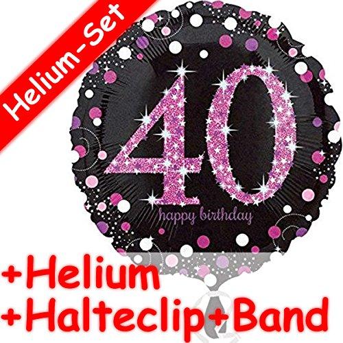 Runder Folienballon * HAPPY BIRTHDAY 40 * + HELIUM FÜLLUNG + HALTE CLIP + BAND * zum Geburtstag // Folien Ballon Deko Ballongas Mädchen Eltern Geschenk Helium Glitzer Punkte vierzig vierzigster