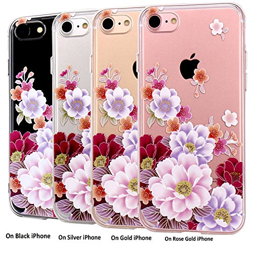 JIAXIUFEN TPU Coque - pour Apple iPhone 7 Silicone Étui Housse Protecteur - Red Peony Watercolor Peony