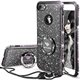 OCYCLONE iPhone 7 Case, iPhone 8 Case, Glitter Cute Phone Case with Lanyard Bling Diamond Rhinestone with Ring Kickstand Clear Soft Protective Sparkly iPhone 8/iPhone 7 Case for Girls Women - Black
