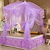 Bedroom circular bed canopy mosquito net even naturals bug netting no bite me bug repellant-purple 200x200cm(79x79inch)