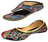 Kanchan Women's Synthetic Combo Of 2 Shoes- 1 Fashion Slipper , 1 Punjabi Ballerina-Ind - 8