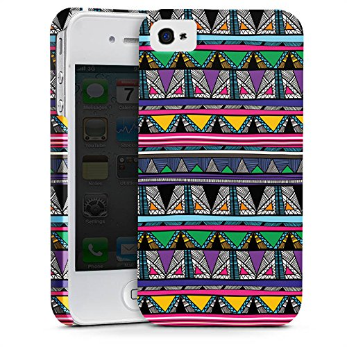 Apple iPhone X Silikon Hülle Case Schutzhülle Ethnostyle 80er Azteken Muster Premium Case glänzend