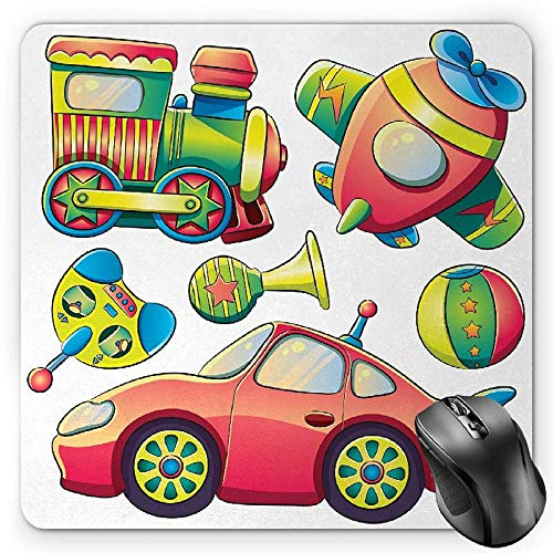 BGLKCS Kids Mauspads Mouse Pad, Funny Transportation Toys with Train Car Airplane Horn Balls Auto Tire Cartoon Design, Standard Size Rectangle Non-Slip Rubber Mousepad, Multicolor