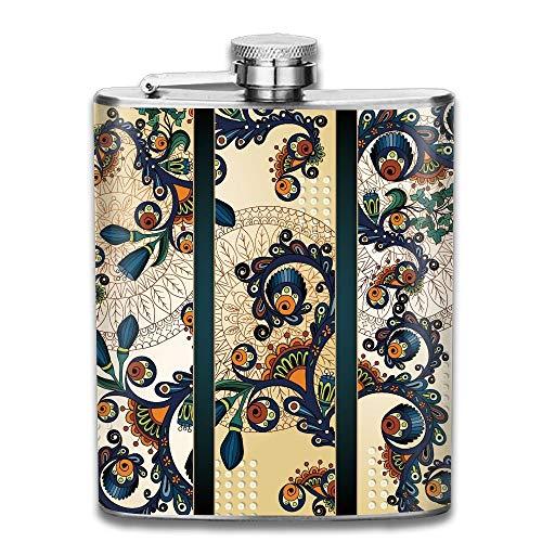 Gxdchfj Paisley Batik Floral Design Ethnic African Hand Drawn Ornament Gift for Men 304 Stainless Steel Flask 7oz -