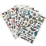 COM-FOUR® 8x Tattoo-Bögen mit Abziehtattoos für Jungs mit verschiedenen Motiven (08 Stück - Jungs)