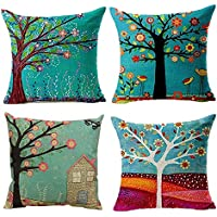 Hangood Cotton Linen Throw Pillow Case Cushion Covers Tree of Life 18 x 18 inches Set of 4pcs