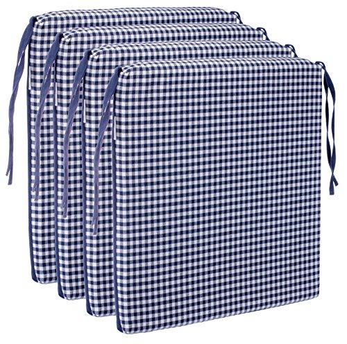 BRANDSSELLER Sitzkissen Stuhlkissen kariert Kissen Sitzpolster - 40 x 40 cm (4er-Paket, dunkelblau) (Kissen Paket)