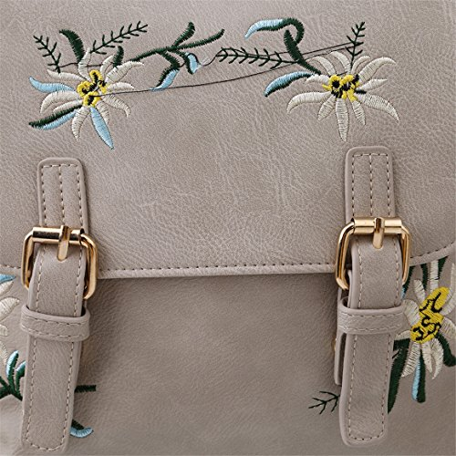ODN Damen Rucksäcke Bestickt Blumen Rucksack PU-Leder Handtasche Daypacks Freizeitrucksack Grau