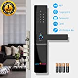 amiciSmart Multi-Access Touchless Smart Door Lock Alexa Compatible Intelligent Biometric Fingerprint App Controlled Password Smart Card with Mechanical Key and Free 4xAA Duracell Batteries