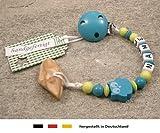 Veilchenwurzel an Schnullerkette mit Namen | natürliche Zahnungshilfe Beißring für Babys | Schnullerhalter mit Wunschnamen - Mädchen & Jungen Motiv Eule in türkis