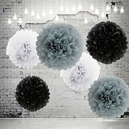 10pezzi-appesi-pon-pon-di-carta-velina-bianco-nero-e-grigio-pom-poms-fiori-di-carta-velina-appesi-fo