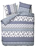 200x220 cm Bettwäsche mit 2 Kissenbezügen 80x80 Bettbezüge Bettbezug Bettwäsche-Set 100% Baumwolle Öko-Tex Standard 100 Kariert Blumenmotiv Blumenmuster Blumen 60 Grad waschbar Diamond Classicism blau dunkelblau weiß