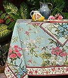 Lorenzo Cana Marken Tischdecke rund mit herrlichem Blumenmuster floral Blumen Bedruckt Durchmesser 175 cm 100% Baumwolle Hellblau 9611077