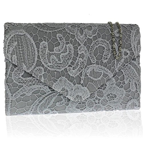 Zarla pochette con motivo floreale in pizzo, Borsa da donna, per abiti da sera, abiti da sera Grigio (grigio)