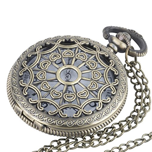 Brass Vintage Style Pocket Watch Long Chain Necklace