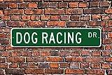 Aersing Cartel Divertido de Metal para Perro, para Carreras de Carreras de Perro o Galgo, Ideal como Regalo de Carreras, para Garaje, Jardín, Valla o Calle, Decoración de Calle