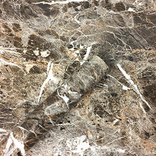 WDragon Braun Granit Look Marmor Glänzende Folie Vinyl Selbstklebend Counter Top Abziehen und...