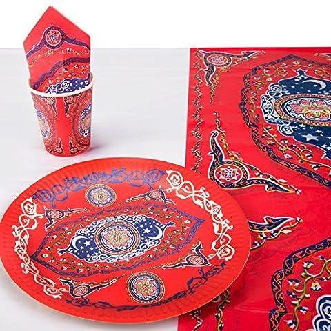Orné Rouge Floral Eid Moubarak Vaisselle Set - 10x Plaques, 8 X Tasses, 20x Serviette & Nappe