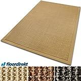casa pura® Sisal Teppich aus Naturfasern mit Bordüre aus Baumwolle | pflegeleicht | Größe wählbar (Natur, 70 x 130 cm)