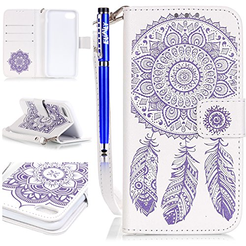 EUWLY Case Cover per iPhone 7 (4.7) Custodia Portafoglio PU Pelle Goffratura Campanula Feather e Fiore Custodia Cover Morbido Leather Elegant Premium Flip PU Pelle Wallet Cover with Magnetic Closure  Viola Bianco