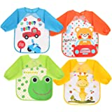Vicloon Bibs with Sleeves,4 Pcs Waterproof Long Sleeve Bib Unisex Feeding Bibs Apron for Infant Toddler 6 Months to 3…