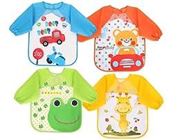 Vicloon Baberos del Bebé Impermeable,4pcs Delantal Ropa Babero Impermeable Infantil para Pintar con Mangas Largas de Bebé Uni