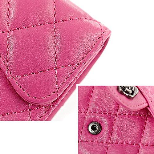 Artemis'Iris donne Plaid Compact mini raccoglitore Trifold frizione della borsa Card Valuta Cambio dell'organizzatore del supporto borsa corto, rosa pink