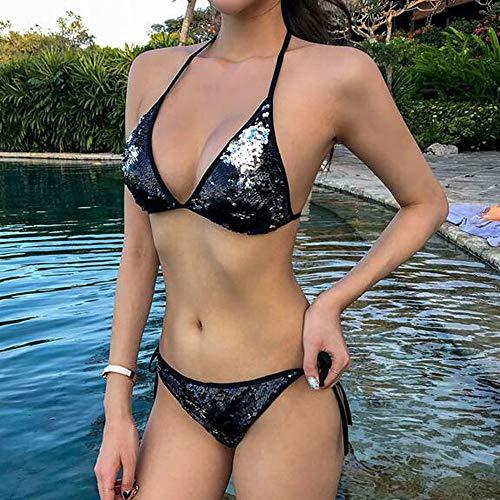 LiRongPing Sexy Schwarzer Pailletten-Triangel-Bikini Für Damen   Verstellbare Krawatte   Tanga Bikini, Zweiteiler   Passend Für S-XL (größe : S) - Schwarze Pailletten-tanga