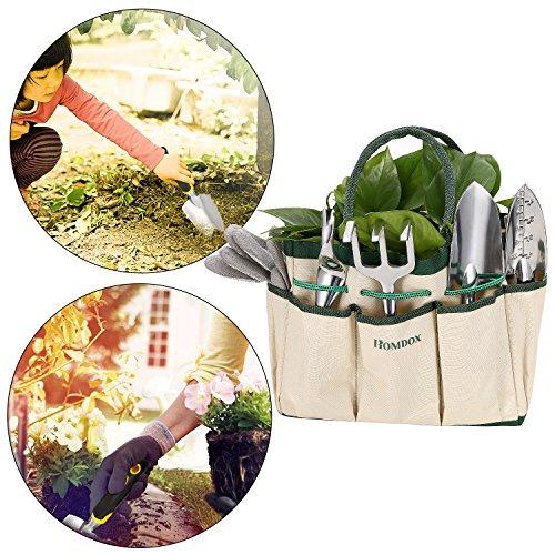 Gartenwerkzeug Sets 9 in 1 aus Hochwertigem Polyester und Aluminium Robust und Rostfrei für Hobby- und Profigärtner mit Tasche (Weiß)
