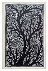 Madhubani Art Tree Silk Wall Painting (18 cm x 56 cm x 26 cm, MAS-M-02)