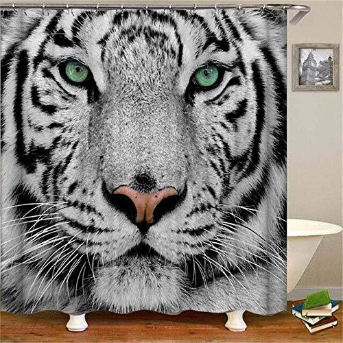Renfengchui Animal Tiger Digital Printing wasserdichte Polyester-Duschvorhänge 180 * 180Cm 20344 - Rüschen Mit Duschvorhang Grau