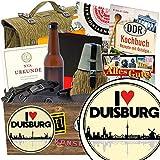 I love Duisburg | NVA Geschenkset | Geschenkkorb | I love Duisburg | NVA Paket | Geschenk Oma Duisburg | mit Original Feldflasche der NVA, Flasche NVA Bier und mehr
