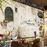 Wandgemälde Kundenspezifische Wandbild Tapete Nostalgische Retro Ziegelstein Tapete Schlafzimmer Cafe Bar Restaurant Hintergrund Wandverkleidung Papier Wohnkultur,280Cm(H)×460Cm(W)