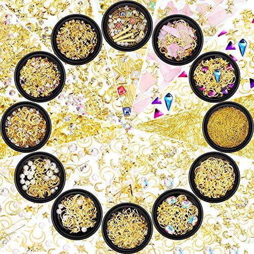 12 Boxen Nagel Kunst Strass Diamanten Perlen Gemischte Größe Flache Rückseite Kristall Strass für DIY Basteln Schmuck Makeup 3D Dekorationen, 12 Stile (Stil C)