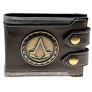 Assassins Creed PU Leather Metal Logo Badge Brown Wallet