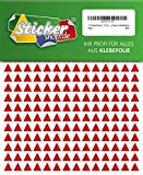 714 Aufkleber, Dreieck, Sticker, 10 mm, rot, PVC, Folie, Vinyl, glänzend, Klebemarkierung, selbstklebend