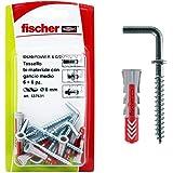 Fischer 537631 pluggen met haken Medium Duopower, grijs/rood, 6 x 30 mm, 6 stuks