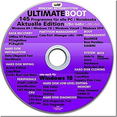 Ultimate Boot CD-DVD NEUE VERSION (NEU) / Notfall-CD-DVD für Windows 10 , Windows 8+7, Vista, XP Betriebssysteme System-Diagnose Tools