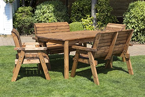 6 Seater Wooden Garden Table - Bench and Chair Set Dining Set - Outdoor Patio Solid Wood Garden Furniture