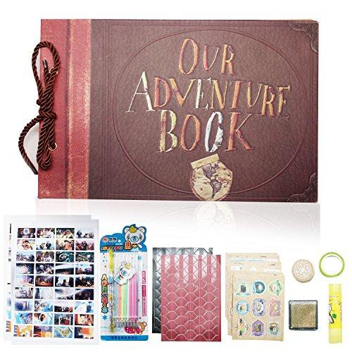"""Xiduobao - Diario di viaggio/Album per fotografie in stile retrò con decorazione """"My Adventure Book"""", ideale per compleanno, scrapbooking, fai-da-te, matrimonio Engraved With 'Our Adventure Book'"""