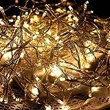 CHICCIE LED Lichterkette für Außen - Mit Timer, Batterie und transparenten Kabel - 192 LED - 14,80m