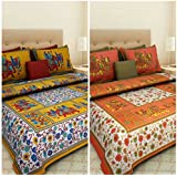 Cotton Combo BedSheet (Renu Fabrics 100% Cotton Combo Set Of 2 Double Bedsheet With 4 Pillow Covers)