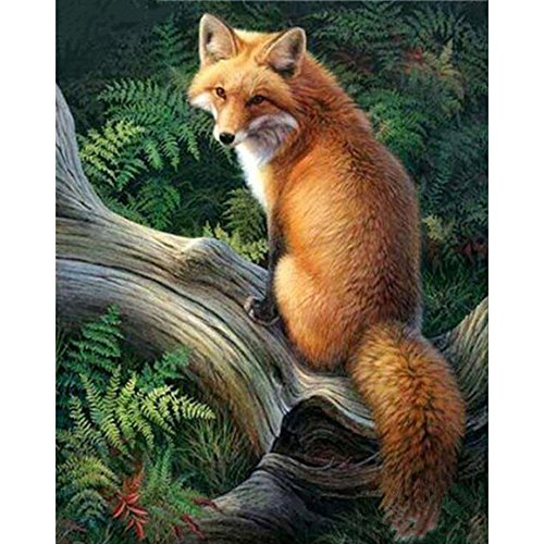 DIY 5D Embroidery Fox Diamond Painting By number Cross Stitch Needlework Diamond Mosaic Picture Animals Embroidery Kit Full Drill Resin Home Decor Painting (S)