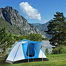 Semoo Tienda de campaña familiar con protección UV, en forma de iglú, para acampar, de fibra plateada, para 3 personas