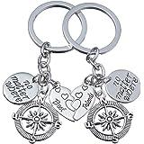 Set 2 anelli portachiavi Bbf Best Friends No Matter Where, con ciondolo a bussola e cuore spezzato separabile, amicizia, rega