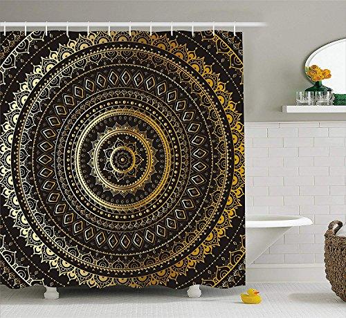 Nyngei Gold Mandala Duschvorhang von indischen dekorativen Motiv Symbol des Universums in Balance orientalischen Flora Stoff Badezimmer Dekor Set mit Gold schwarz gelb
