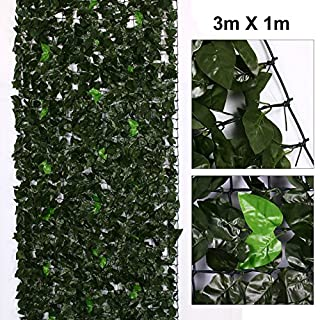 AllRight Ivy Screen Artificial Faux Leaf Hedge Panel On Roll Plastic Garden Fence 1m x 3m