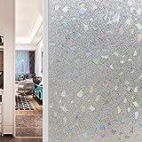JiaQi 3D Fensterfolien,Statische dekorfolie,Sichtschutzfolie Bright Leimfrei Fenster Aufkleber Translucent Transparent Wärmedämmung Balkon Küche-A 60x200cm(24x79inch)