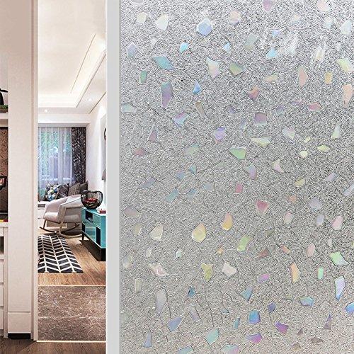 JiaQi 3D Fensterfolien,Statische dekorfolie,Sichtschutzfolie Bright Leimfrei Fenster Aufkleber Translucent Transparent Wärmedämmung Balkon Küche-A 60x200cm(24x79inch) (Translucent Weg)