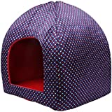 Jainsons Small Pet Cave Bed Red & Blue Dog/Cat House (Foldable/Detachable) (Medium)